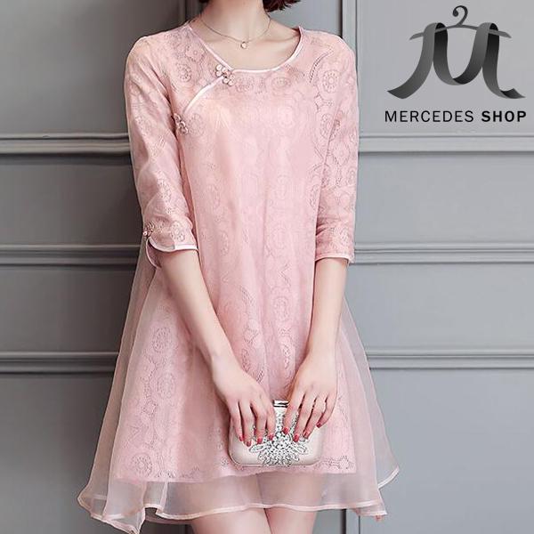[暢銷特價] 改良式旗袍復古蕾絲歐根紗傘擺洋裝 (M-2XL) - 梅西蒂絲