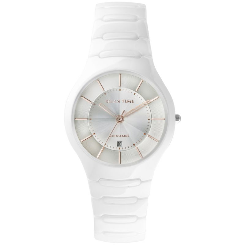 Relax Time  RT-26-C2 經典系列白X玫陶瓷腕錶/白面36.6mm