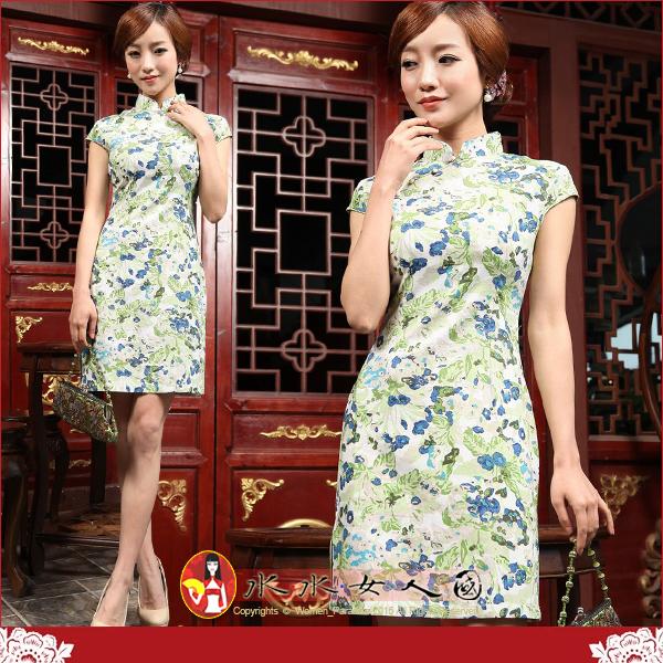 【水水女人國】~夏日特價550元~清雅藍綠花。復古亞麻花布改良式時尚短旗袍