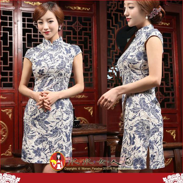 【水水女人國】~夏日特價550元~青花。復古亞麻花布改良式時尚短旗袍
