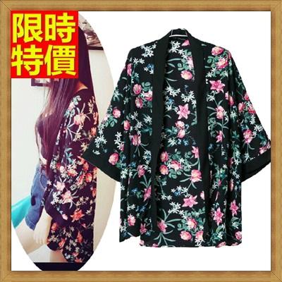 和服外套 和風女罩衫-花色寬鬆復古日式防曬小外套68af15【日本進口】【米蘭精品】