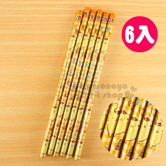 〔小禮堂〕布丁狗 鉛筆組《黃格紋.6入.2B.朋友.糖果》圓形筆桿