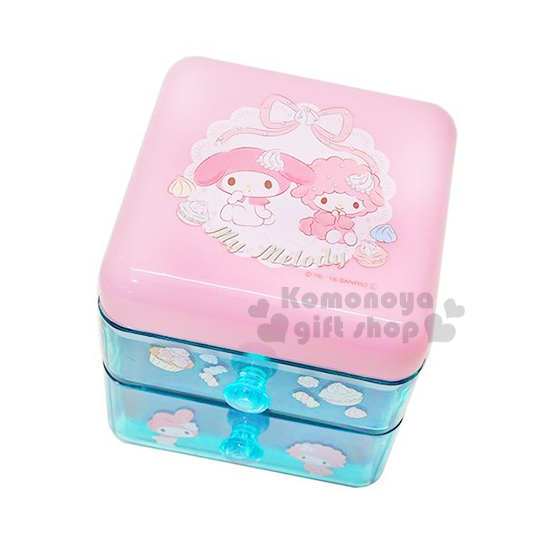〔小禮堂〕美樂蒂 桌上型雙抽置物櫃《粉藍.Piano.甜點》可當飾品盒