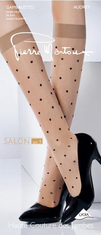 {55折} 皮爾曼都Pierre Mantoux 高彈性俏皮小波點及膝襪 義大利奢華品牌