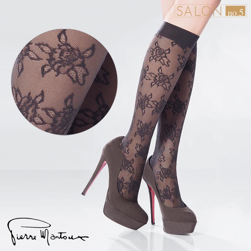 {55折} 皮爾曼都Pierre Mantoux精致層次玫瑰網襪/及膝襪 義大利進口絲襪