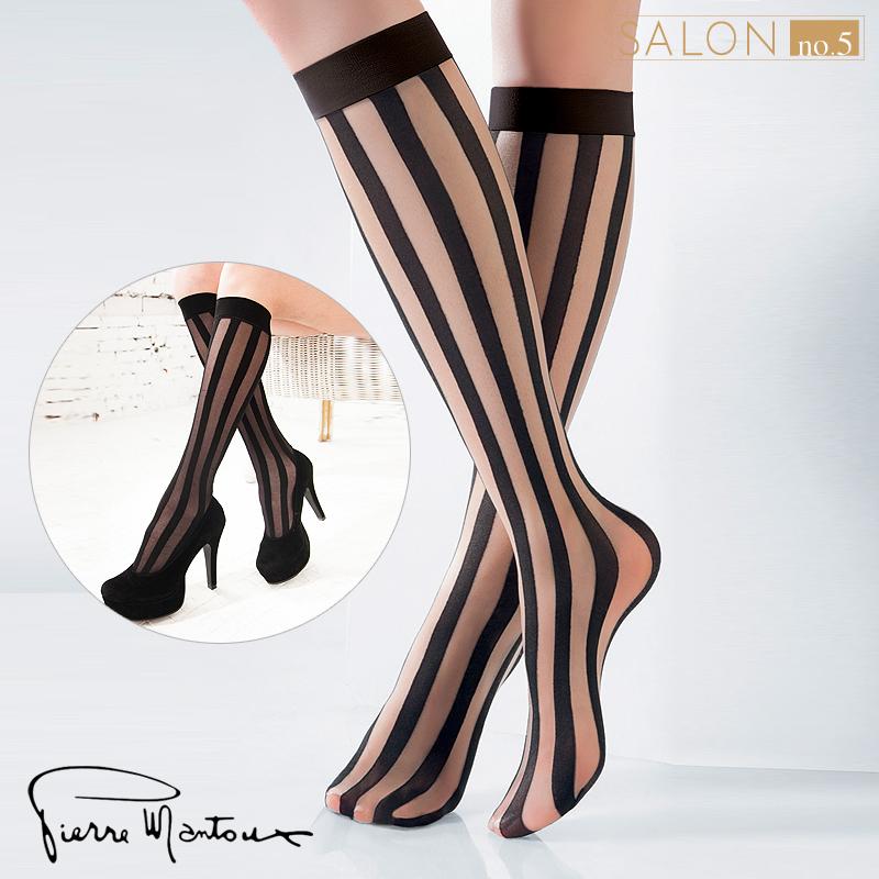 {7折} 皮爾曼都Pierre Mantoux摩登帥氣顯瘦豎條紋及膝襪 歐美潮流新品