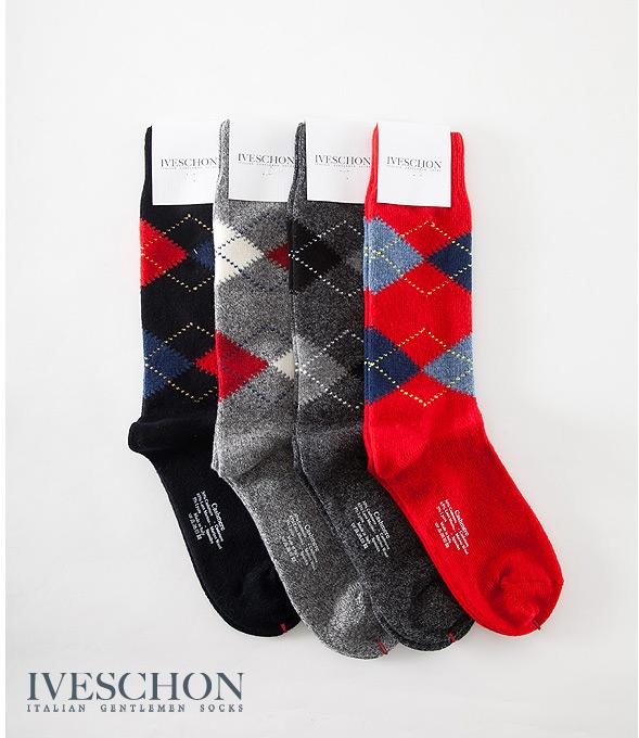 義大利IVESCHON頂級喀什米爾羊絨男襪 蘇格蘭菱格紋多采羊毛襪 原裝進口