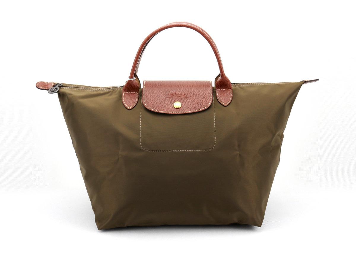 [1623-M號] 國外Outlet代購正品 法國巴黎 Longchamp 短柄 購物袋防水尼龍手提肩背水餃包 枯葉草