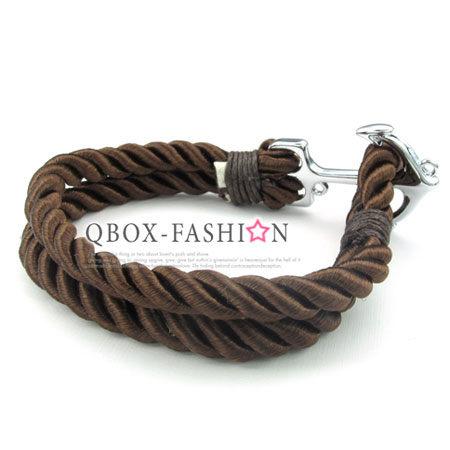 《 QBOX 》FASHION 飾品【W10024845】精緻個性船錨粗棉繩316L鈦鋼手鍊/手環(咖啡)