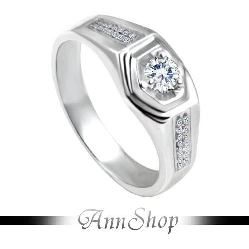 AnnShop【雙排鑽三爪單鋯石/鑽石純銀戒指•925純銀】可客製化鑽石珠寶銀飾禮品ZR200