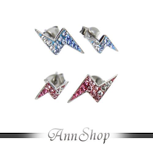 AnnShop【大小閃電耳飾•316L鋼】小安的店人氣款滿鑽漸層酷炫迷人珠寶銀飾禮品e3036-1234