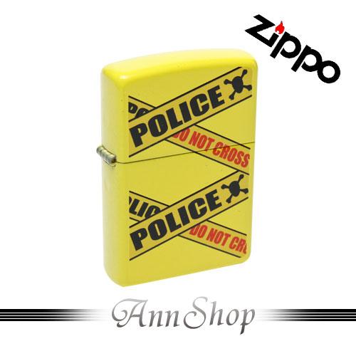 AnnShop【ZIPPO•封鎖線打火機】小安的店黃色POLICE彩印上色情人禮防風防水美式打火機28060