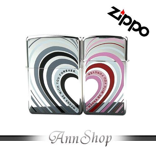 AnnShop【ZIPPO•日系心型波紋兩心相連情人對組打火機】小安的店愛心主題設計款禮盒z0355