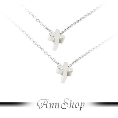 AnnShop【素面十字雙鍊白鋼項鍊•316L鋼】小安的店經典款十字架銀飾禮品n3030