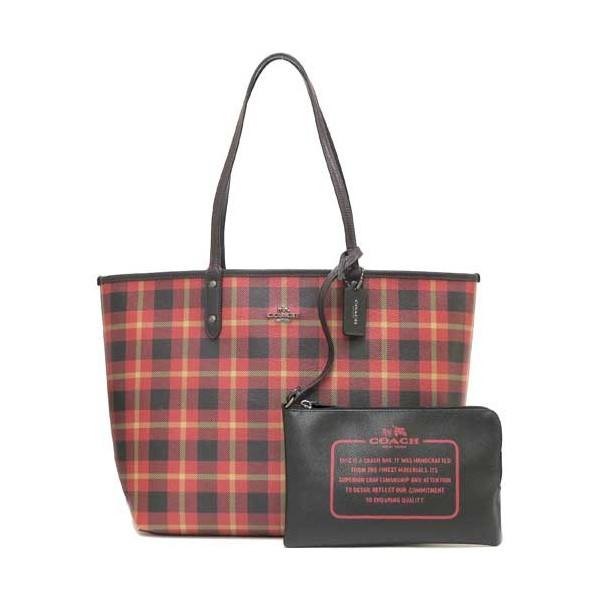 COACH F55447 女士時尚雙面翻轉包手提包購物袋女包黑色紅格子雙面