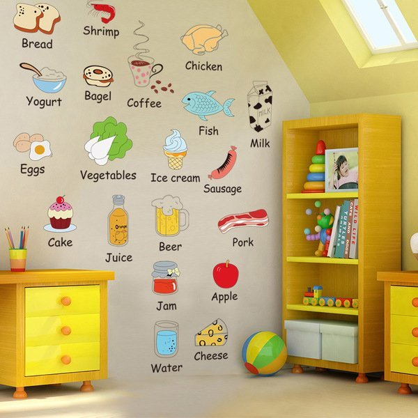 BO雜貨【YV0625】DIY時尚裝飾組合可移動壁貼 牆貼 壁貼 創意壁貼 卡通食物英文單字AM7090