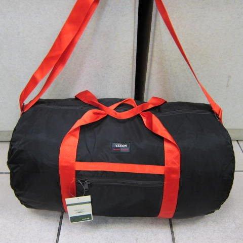 ~雪黛屋~YESON 摺疊圓筒旅行袋 收納備用旅行袋 超輕防水尼龍布材質可掛行李拉桿併用F668黑
