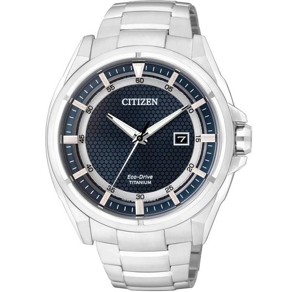 CITIZEN星辰AW1401-50L清雅超級鈦光動能腕錶/藍面43mm