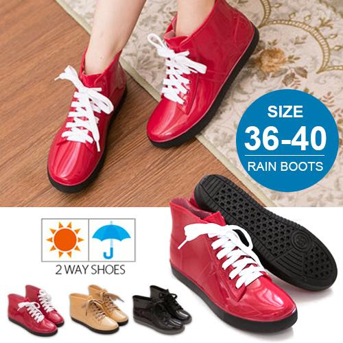 格子舖【晴雨兩穿】2ways 超防水 3種顏色  韓版綁帶造型超防水雨鞋 雨靴 帆布鞋 【AR811】現貨+預購
