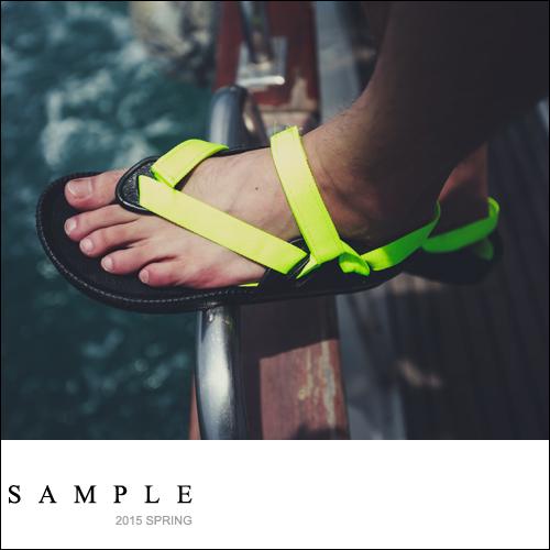 情侶款【SA12526】可下水橡膠底帆布夾角海灘涼鞋【Sample】