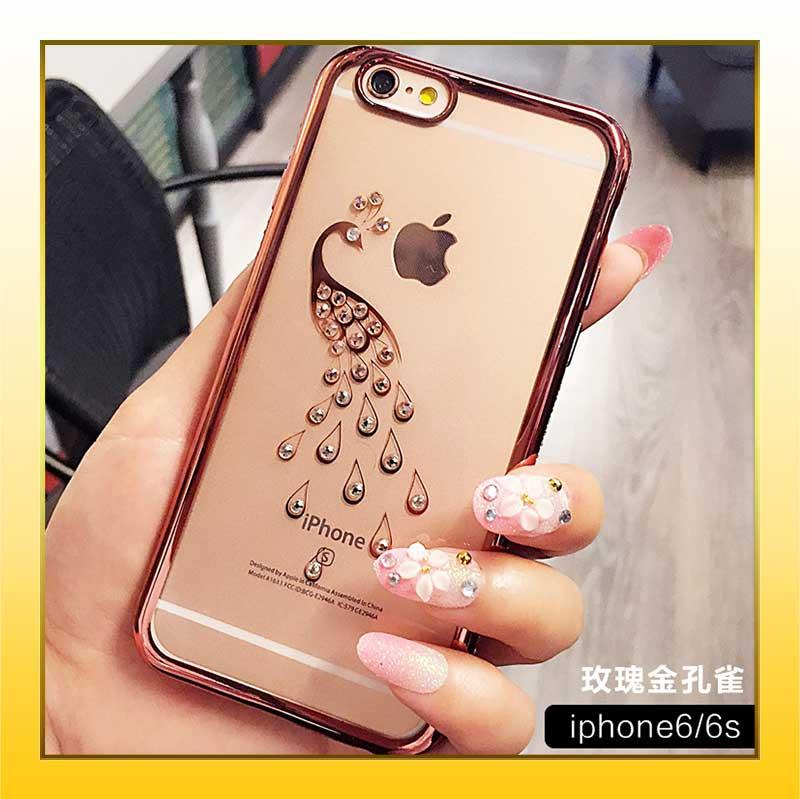 iPhone6/6S/6S+plus簡約低調奢華閃亮鑲鑽透明防摔iPhone手機保護殼-金孔雀/金天鵝【AAA0583】