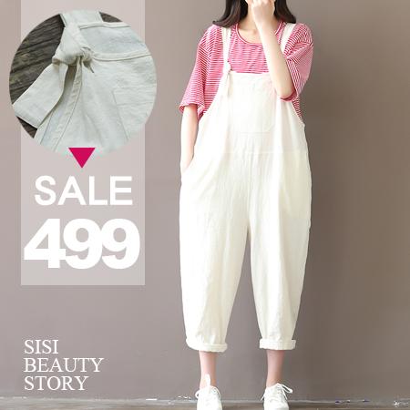 SISI【J6007】復古森林系寬鬆休閒棉麻吊長褲連身褲
