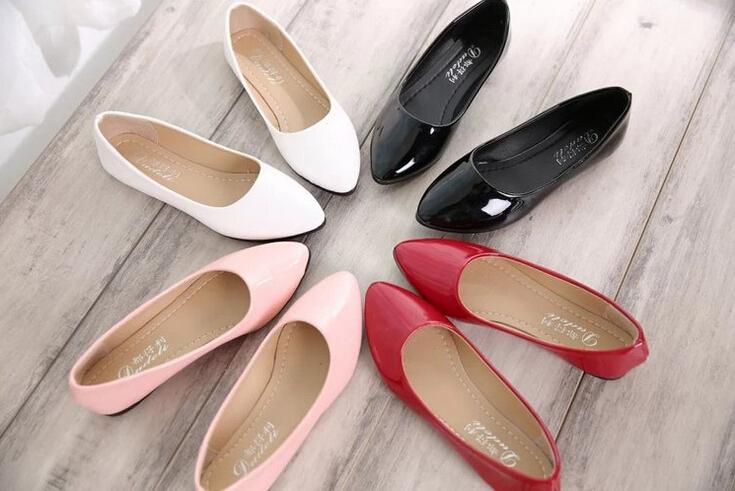 漆皮淺口圓頭平底鞋孕婦鞋-黑/紅/粉/白35-39預購【a521480107780】