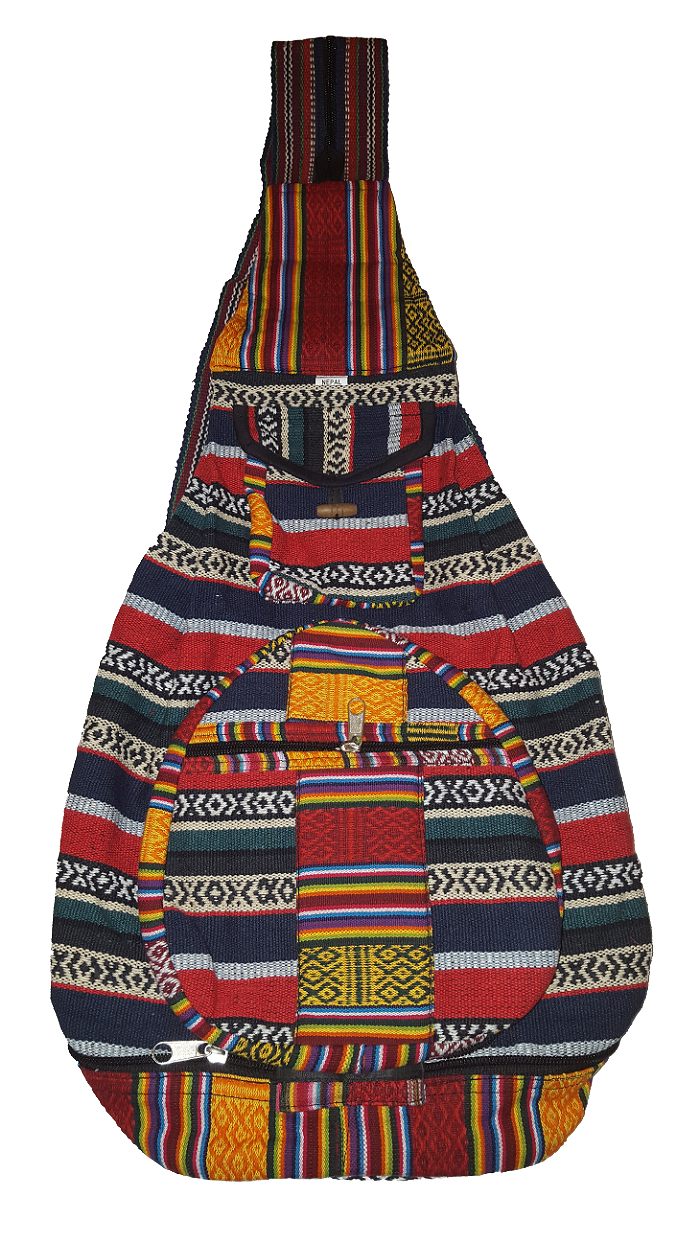 尼泊爾製  個性條紋圖案  後背包【尼泊爾 手藝坊】 Nepalese made typical Nepalese stripy designed back pack