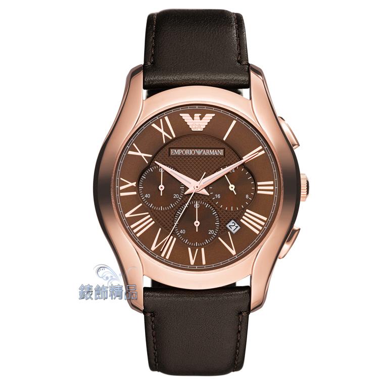 【錶飾精品】ARMANI手錶 亞曼尼表 計時碼錶 日期 玫金框咖啡面咖啡皮帶男錶 AR1701 情人生日禮物