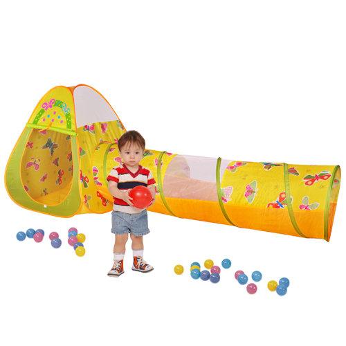 【淘氣寶寶】【CHING-CHING親親】蝴蝶球屋(三角+隧道)+100球 CBH-22