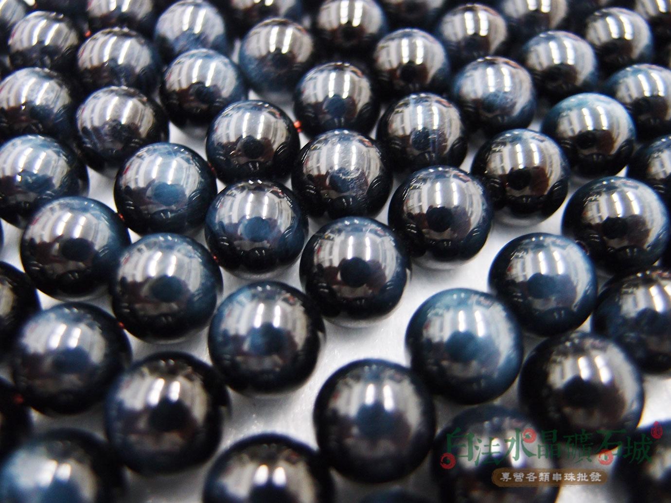 白法水晶礦石城 南非 天然-虎眼石-藍色 10mm 礦質-漂亮珠子 藍色暈光明顯- 串珠/條珠 首飾材料