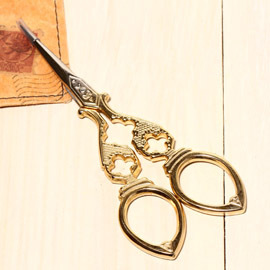 日本古典復古風剪刀-金色迷你十字