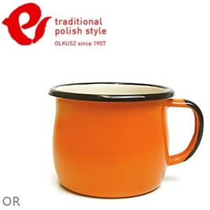 Emalia Olkusz 波蘭百年琺瑯杯/牛奶杯/琺瑯馬克杯250ml TPS 亮橘 OR