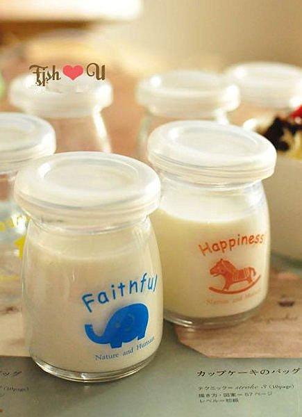 =優生活=韓國zakka雜貨 日式小動物玻璃杯 布丁杯 許願瓶 小奶瓶 果動模 牛奶罐