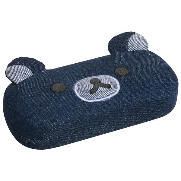 〔小禮堂〕拉拉熊 懶懶熊 造型眼鏡盒《深藍.大臉》深藍丹寧系列