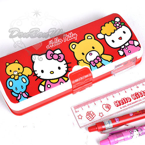 kitty鉛筆盒雙層收納多功能紅底三人963190海渡