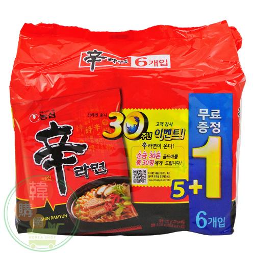 【韓購網】韓國農心辛拉麵(5+1入/袋)★真正韓國原裝進口!韓國當地內銷版★麵更Q、湯頭更濃香辣
