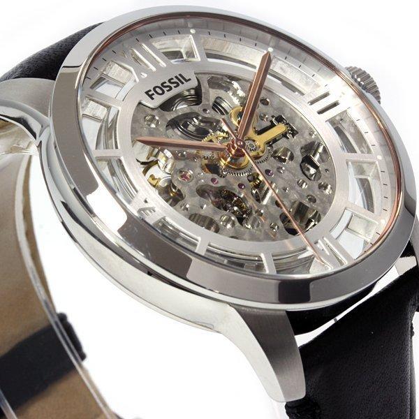 FOSSIL ME3041 典雅雋永精緻鏤空機械錶 銀/黑 43mm
