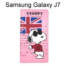 SNOOPY 彩繪皮套 [英國粉] Samsung J700F Galaxy J7 史努比【正版授權】