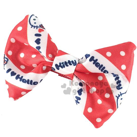 〔小禮堂〕Hello KItty 絲質造型髮夾《紅白.點點.蝴蝶結型》可愛小裝飾