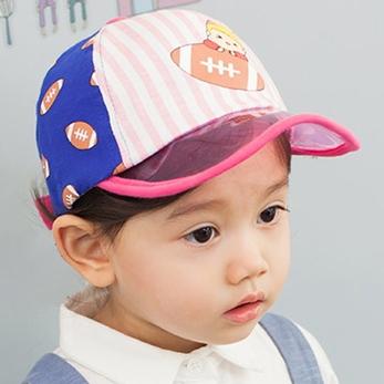 Lemonkid◆時尚運動風條紋印花防曬遮陽好視線透明帽檐兒童休閒棒球帽-粉色帽檐