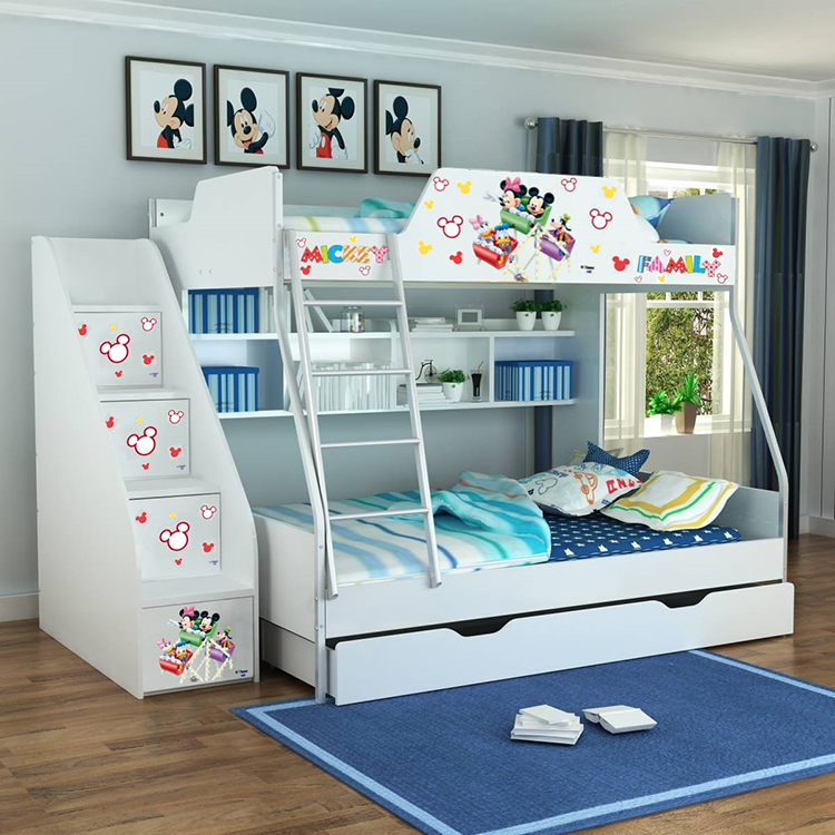 [首雅傢俬]MIT迪士尼商品 米奇家族 雙人上下舖床架(不含梯櫃.下拖櫃)