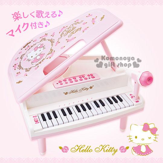 〔小禮堂〕Hello Kitty 迷你鋼琴玩具組《粉盒裝.3腳.玫瑰花》適合3歲以上孩童