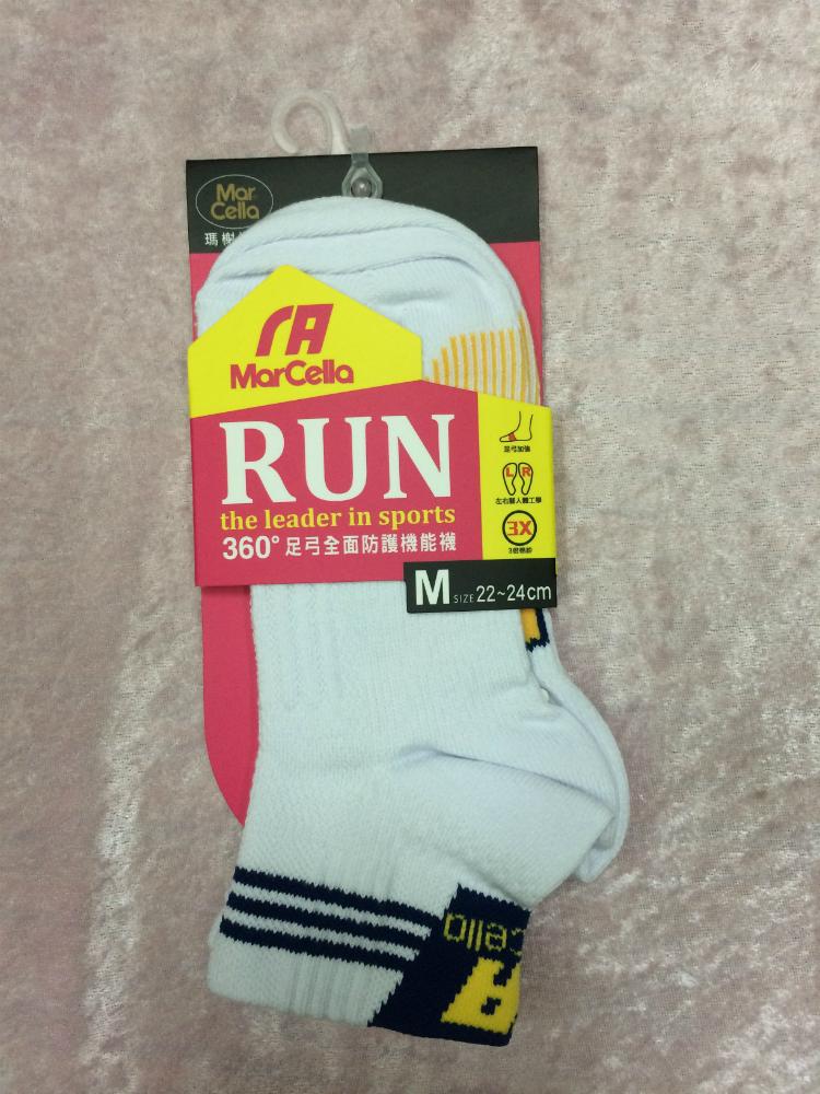 Mar cella 瑪榭 360度足弓全面防護機能襪 2/1高 白色 女襪 M 22~24cm 台灣製