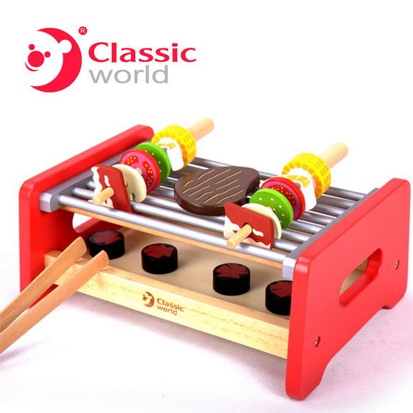 【德國 classic world】客來喜木頭玩具-家家酒系列 烤肉組 CL4117