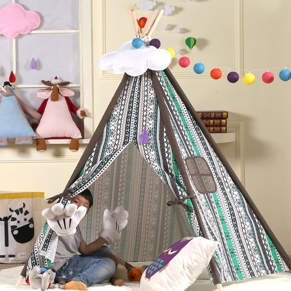 =優生活=『夏日野餐季免運優惠』韓國綠色風情印第安兒童純棉布室內帳篷 寶寶嬰兒遊戲屋 野餐帳篷 野餐墊 兒童拍攝道具