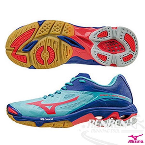 MIZUNO 美津濃 WAVE LIGHTNING Z2 排球鞋 女 (水藍*桃紅*深藍) 高階輕量