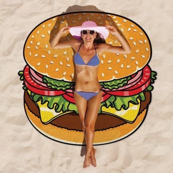 PS Mall 旅行超輕速乾披巾 沙灘巾 大披薩漢堡甜甜圈 沙灘墊運動游泳野餐墊海灘 【J2383】