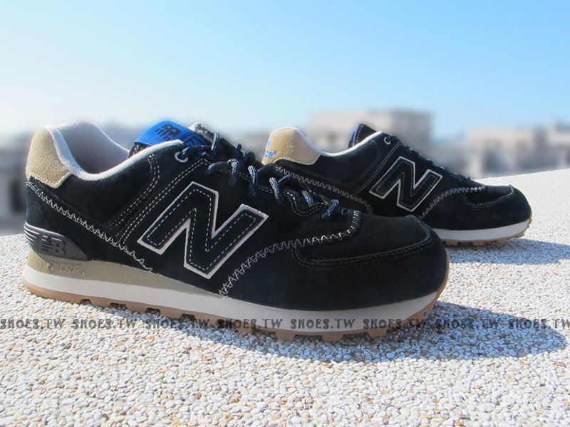 Shoestw【ML574GBD】NEW BALANCE NB574 復古慢跑鞋 黑藍 麂皮 棒球縫線 男女都有