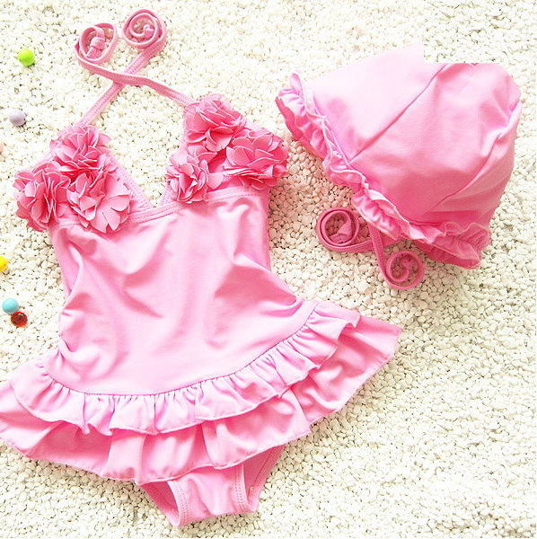 兒童嬰兒可愛花朵連體裙式游泳衣寶寶女童泳裝+泳帽-粉紅色